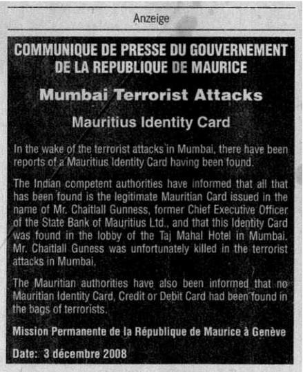 Mauritius Identity Card NZZ 2008-12-09