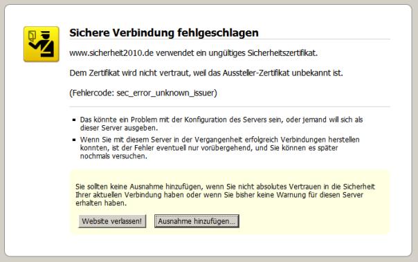Fehlermeldung zum SSL-Zertifikat für sicherheit2010.de