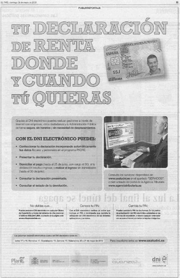 """Werbung der Spanischen Regierung für den elektronischen Ausweis """"DNI electrónico"""" aus der Zeitung """"El País"""""""