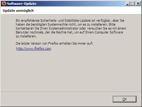 Dialogbox: Firefox-Update scheitert an eingeschränkten Benutzerrechten