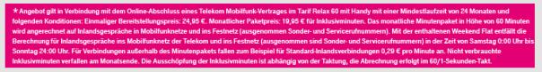 Telekom-Werbebanner mit Vertragsbedingungen