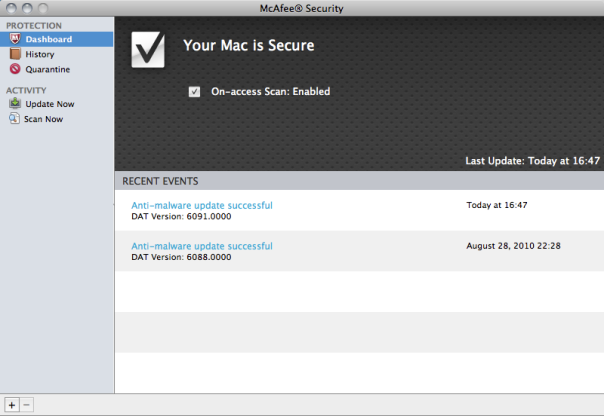 "McAfee screenshot saying: ""Your Mac is secure"""