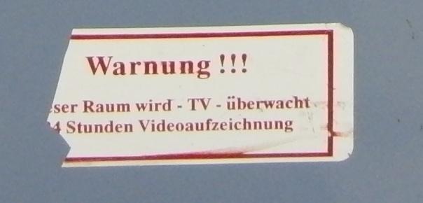 Vergrößerter Hinweis: Videoüberwachung
