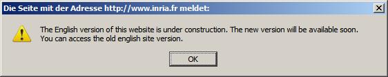 Popup-Fenster von inria.fr mit dem Hinweis, die englische Version der Site sei gerade under construction