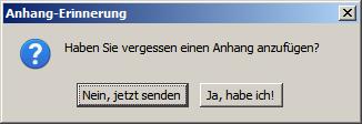 Dialogbox aus Thunderbird, die an vergessenen Dateianhang erinnert
