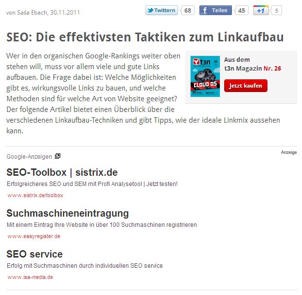 Screenshot: SEO-Artikel auf t3n mit SEO-Werbung