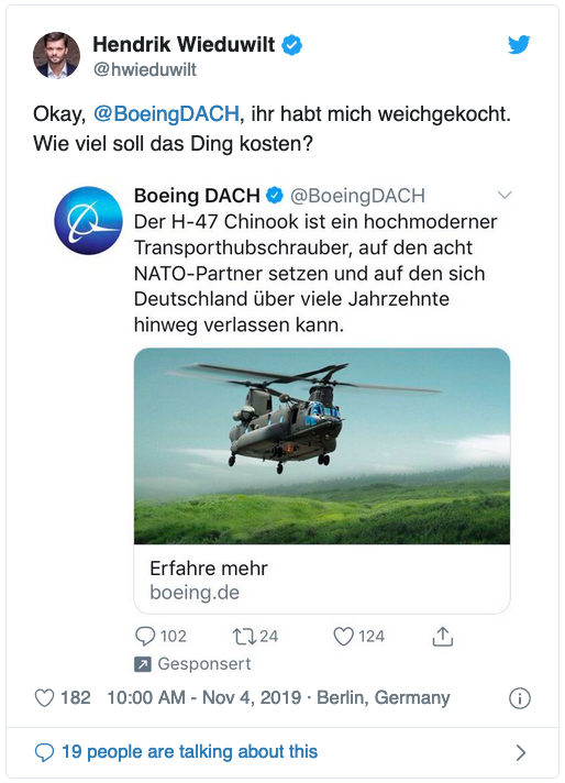 Belustigter Tweet über Twitter-Werbung für militärische Transporthubschrauber